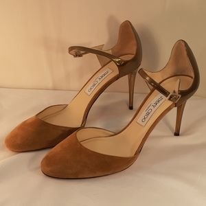 Jimmy Choo brown suede and gold heels